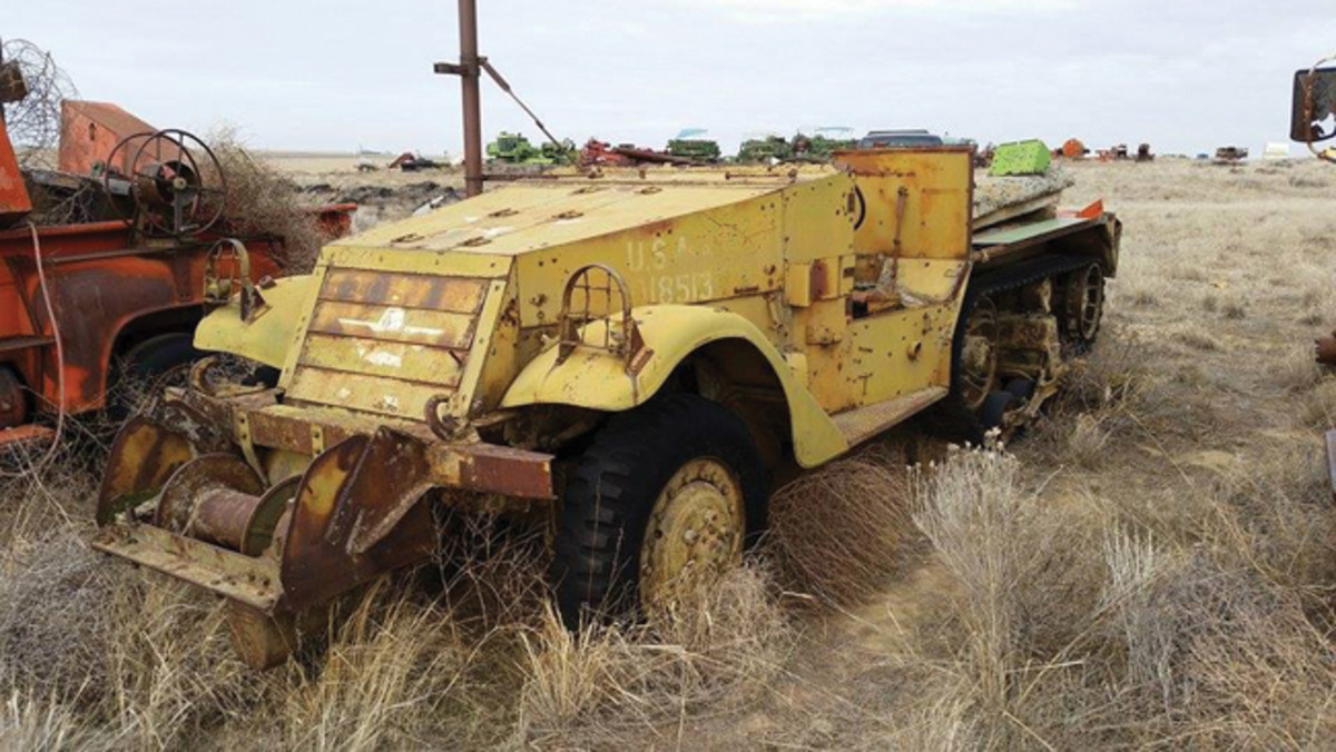 John Engelke's 1942 M2A1 when he found it: No rear armor and rusting in a field.