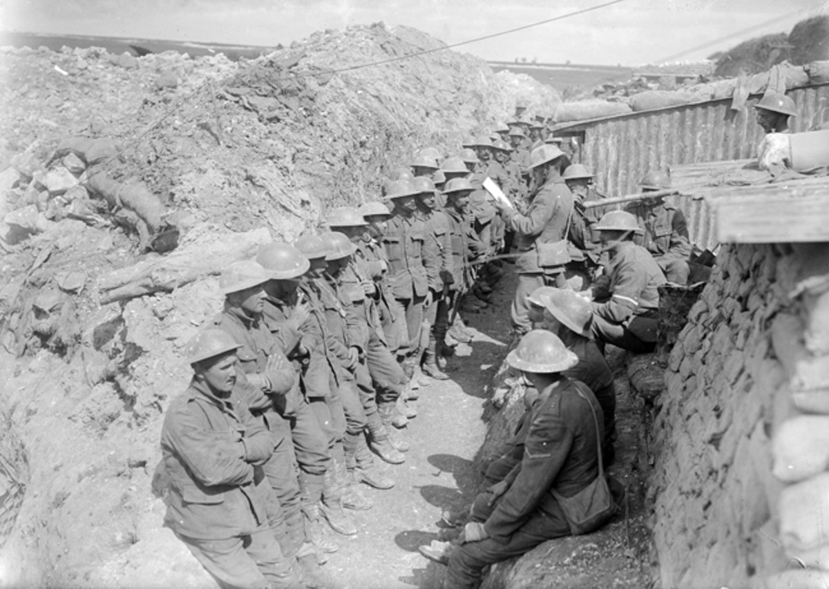 In the afternoon of 1 July 1916 at a location known as White City at Beaumont Hamel, men of the 1st Lancashire Fusiliers answer the roll call. They were the lucky ones, as by now many of their fellow battalion members were either dead, wounded or lying unrecoverable in No Man's Land.