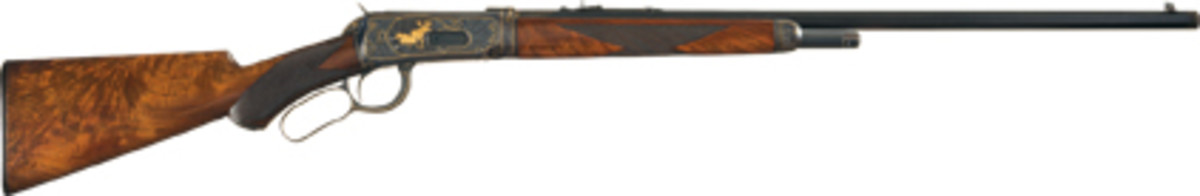 Lot 1007, a deluxe Winchester Model 1894 takedown with No. 2 factory engraving, gold inlays, and in spectacular condition, sold for $172,500.