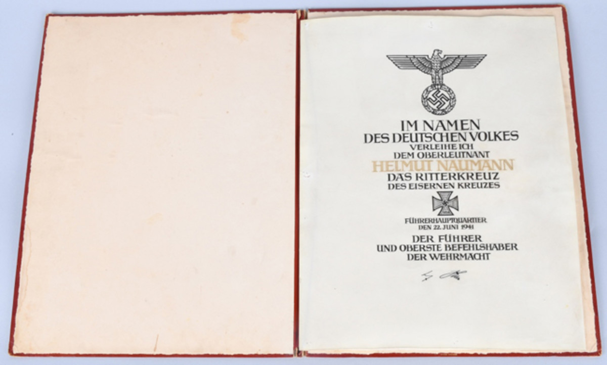 https://www.liveauctioneers.com/item/61938242_wwii-nazi-german-knight-s-cross-certificate-andfolioLeather-cased Nazi German Knight's Cross Certificate awarded to Helmut Naumann, dated June 2, 1941, signed by Adolf Hitler, $9,000