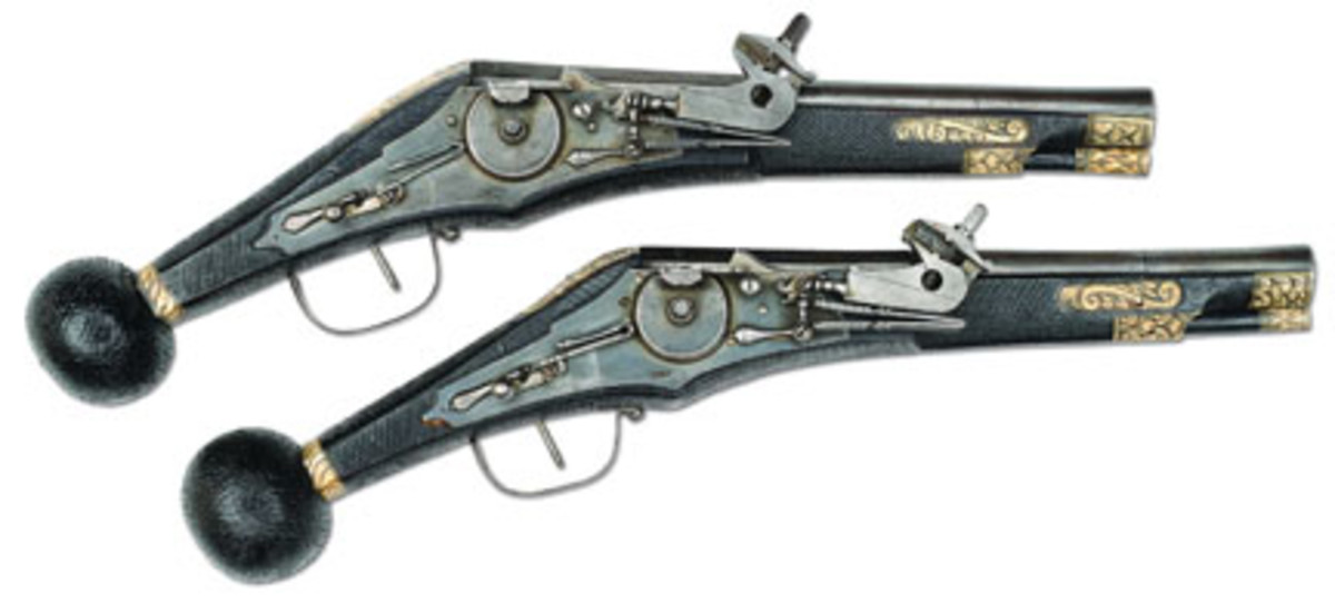 Superb pair of Saxon Elector Guard Puffers (est. $40,000-60,000) Sold for $60,375. (Sirkin Collection)