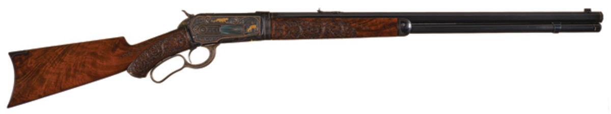 Spectacular Documented John Ulrich Signed Factory Grade No. 1 Engraved, Gold and Platinum Inlaid Winchester Model 1886 Takedown .50 Express Lever Action Rifle with Style A Carved Stock with Factory Letter from the Mac McCroskie Collection: The Finest 1886 Winchester Known