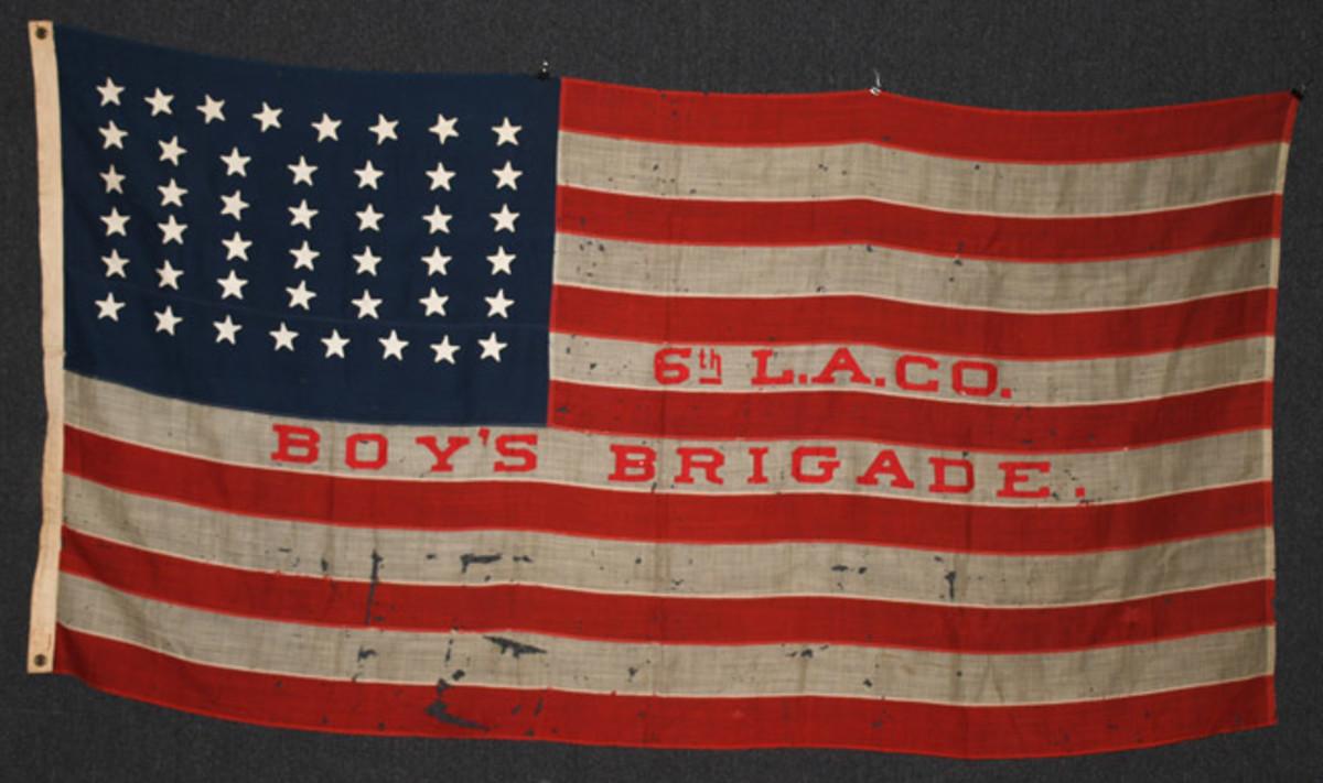 https://www.liveauctioneers.com/item/61938031_boys-brigade-44-star-flag-1891-1896Boys Brigade, 6th L.A. Co. 44-star American Flag, 1891-1896, $3,360