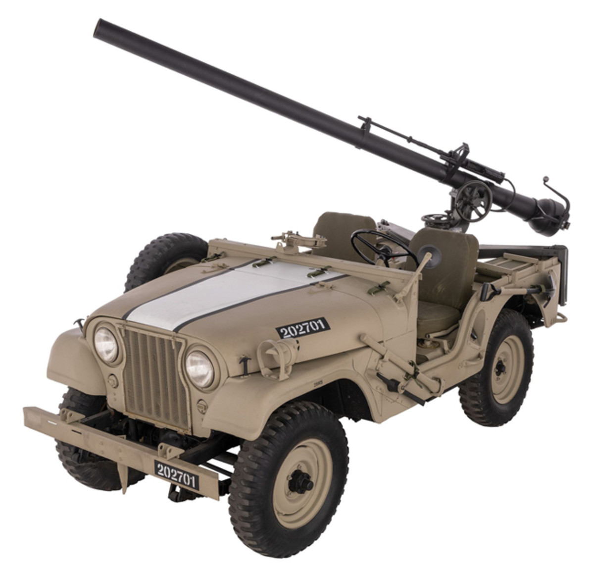 Lot 1425: Israeli Army CJ-5 Jeep with M70 Recoilless Rifle. Sold for 17,250