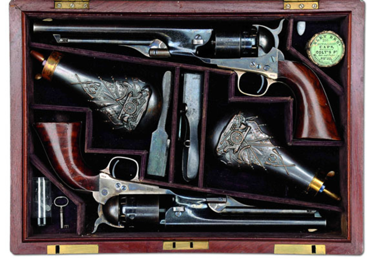 Extremely rare presentation double cased Colts to Gen. W.A. Thornton by Col. Colt (est. $200,000-300,000) Sold for $224,250. (Gerber Collection)
