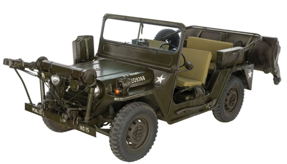 Lot 1424: Vietnam War- era U.S. Ford M151A1 Minesweeper Jeep with Rare P170. Sold for $18,400