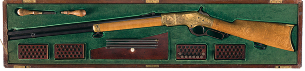 """""""On the Rocky Mountain"""" antique Winchester 1866 rifle"""