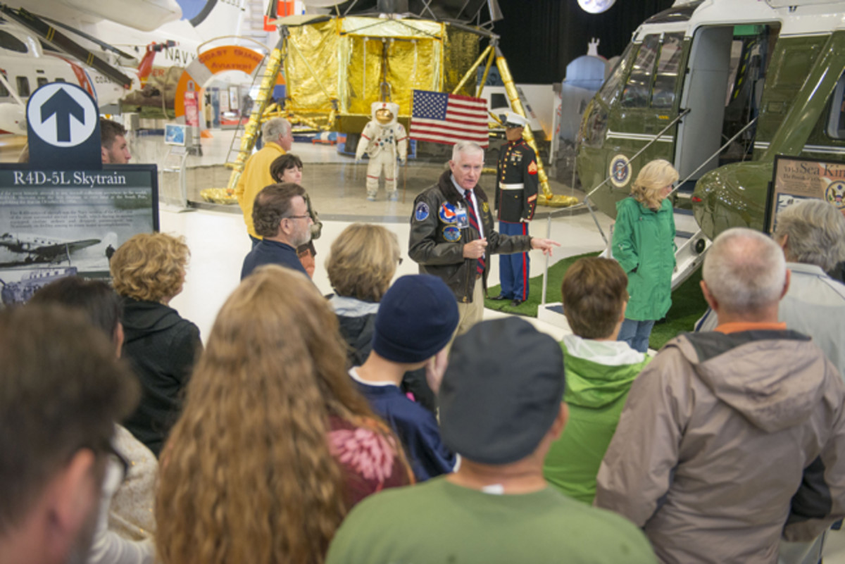 Visitors to the National Naval Aviation Museum benefit from regularly scheduled tours, with many of the docents retired naval aviators with firsthand flying experience in the airplanes displayed in the museum's 350,000 square feet of exhibit space.