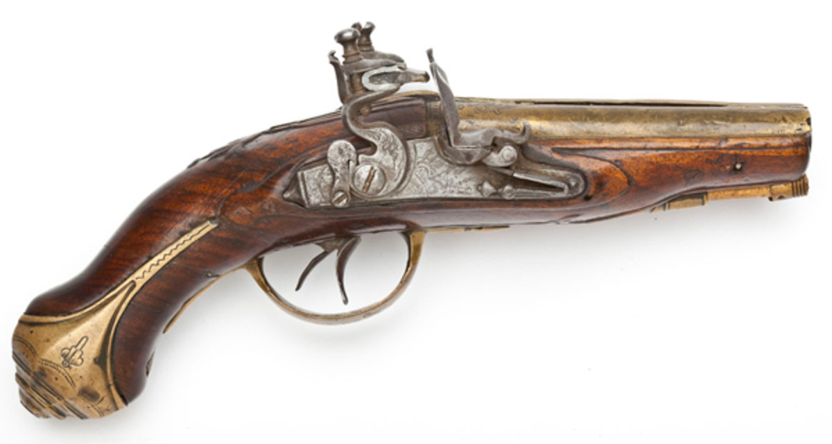 Early 18th C. Double Brass Barreled Coat Pistol ($2,000 - $3,000)