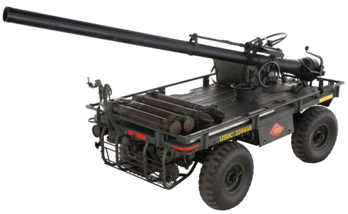 Lot 1423: Vietnam War-era USMC M274A5 4x4 Mule with M40 Recoilless Rifle. Sold for $25,875