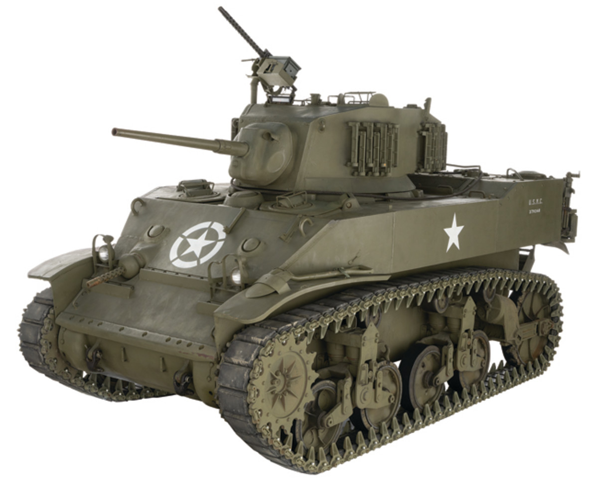 Lot 1387: World War II U.S. M5A1 Stuart Light Tank. Sold for $287,500