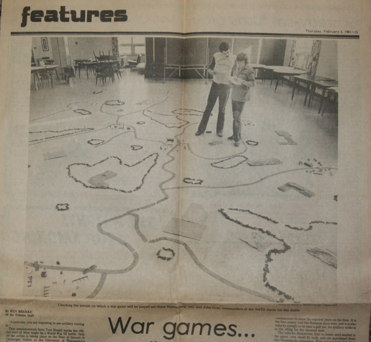 "Our wargaming on campus was unusual enough to draw out the local newspaper. The two-page article featured photos of our ""terrain"" laid out on the floor of the Student Union."