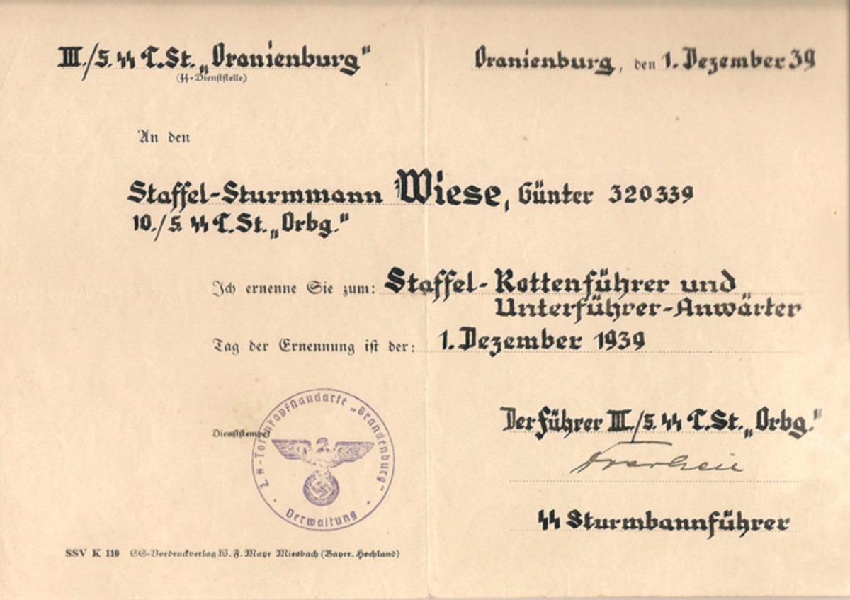 While stationed at Oranienburg, Günther Wiese received a promotion to SS Unterführer-Anwärter on December 1, 1939. Courtesy of Mark Pulaski