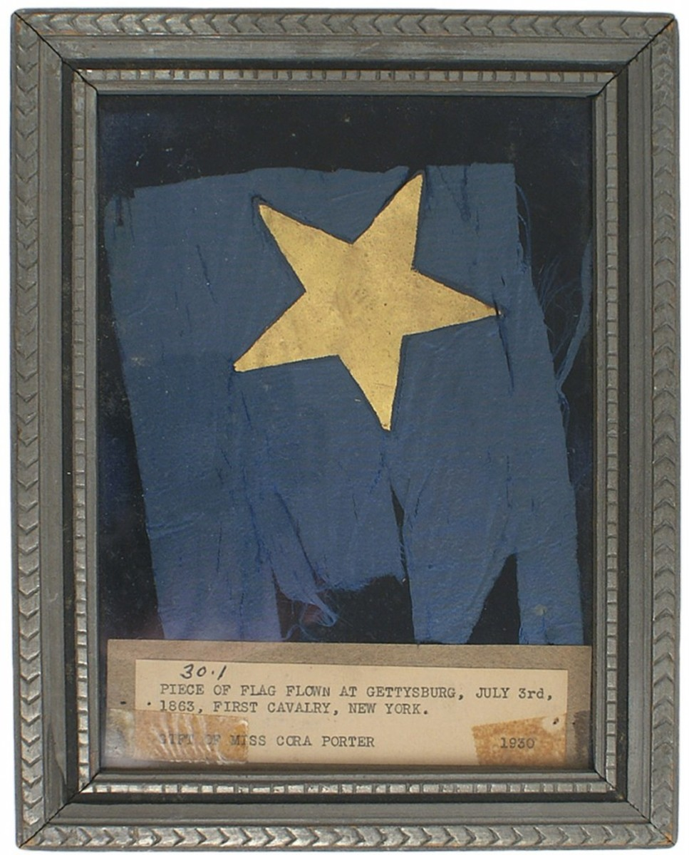 Framed piece of a flag that flew at the Battle of Gettysburg on July 3, 1863 (Opening bid: $350).