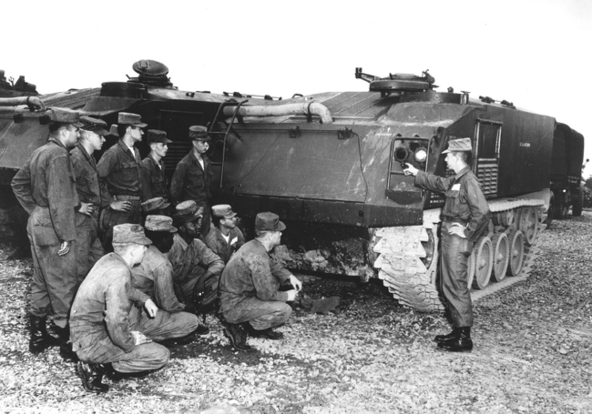 The nearly 10-foot height of the M75 is apparent in this photo of a Fort Benning instructor orienting soldiers in 1953. US Army photo