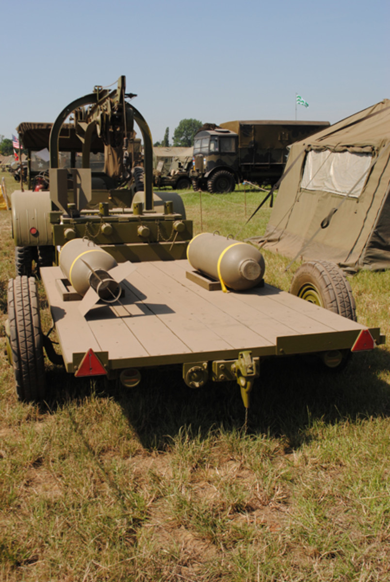 The GTBC bomb truck version of the Ford GTB 'Burma Jeep' towing an M5 bomb trailer. The Burma Jeep could tow up to four of these trailers, each of which had a load capacity of 2.5 tons.