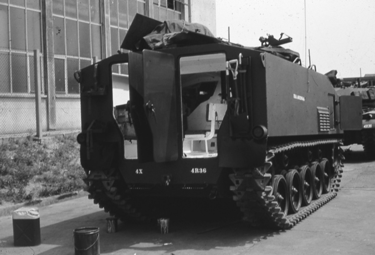 Vern Kindschi was a mechanic in the 704th Ordnance Bn. when he took this photo of an M75 in Hanau, Germany, ca. 1954. The rear doors and rear deck hatches are open. In addition to the commander and an infantry squad, the crew compartment was large enough to stow spare ammunition and an M20 bazooka.