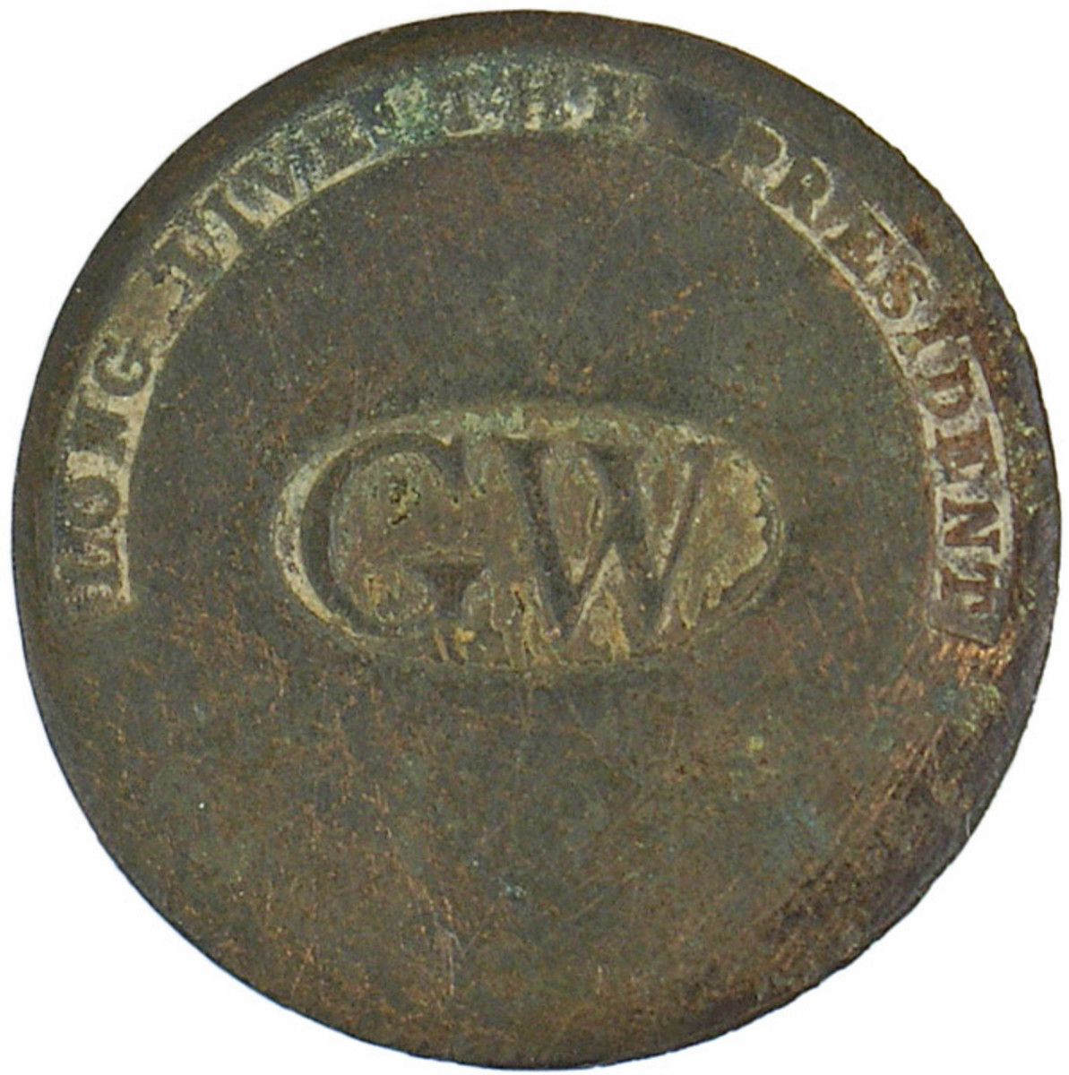 Flat copper button from the inauguration of George Washington, 34mm (Opening bid: $1,250).