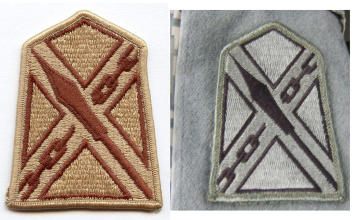 Again for comparison, two recent versions of the same patch. On the left, is the Desert Combat Uniform (DCU) version that was worn in OIF and OEF until replaced by the Army Combat Uniform (ACU) with the Universal Camouflage Pattern (UCP) on the right. (DCU photo courtesy Kevin Born)