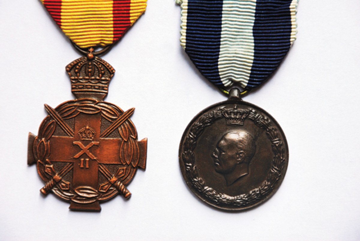 Either singly or as a pair, the Greek Distinguished Conduct Medal (left) and the Greek War Medal 1940-41 (right) are good starting points to expanding a WWII medal collection.