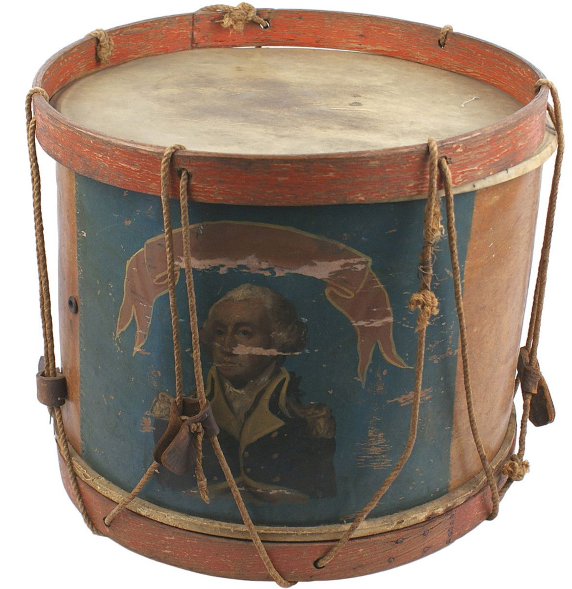 Pre-Civil War era snare drum with basswood body, Washington portrait (Opening bid: $1,500).