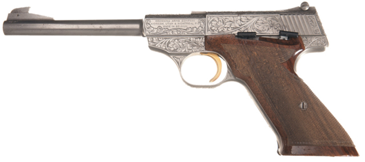 Lot 609: Custom Engraved Browning Challenger Semi-Automatic Pistol