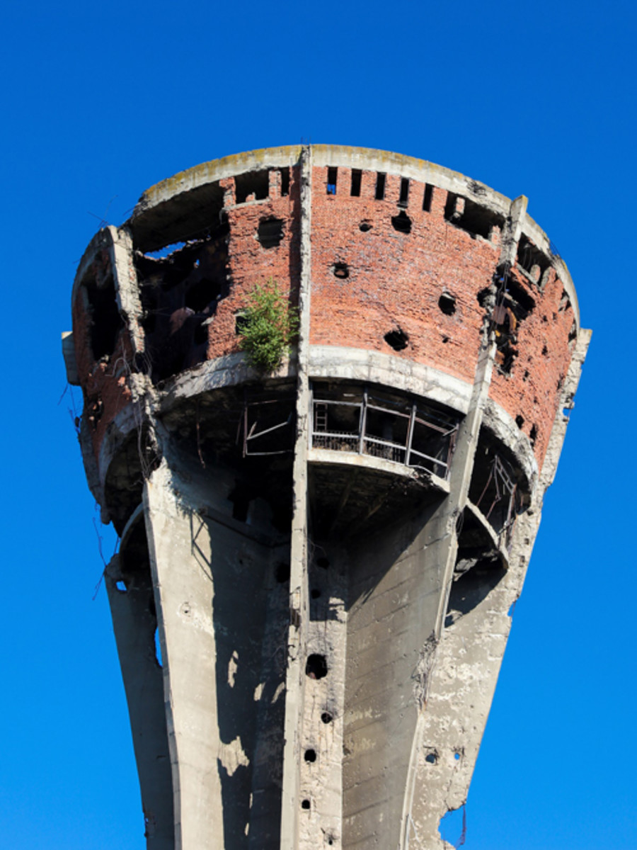Water Tower in Vukovar, Croatia. During the Battle of Vukovar in 1991, the Water Tower was one of the most frequent targets of artillery and hit more than 600 times.