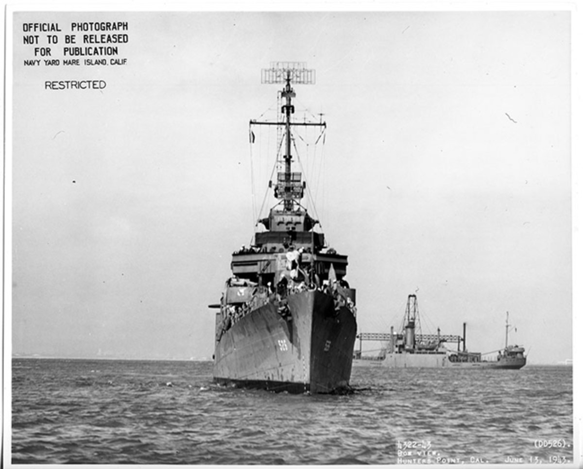 USS Abner Read (DD 526), bow view. Hunters Point, California, June 13, 1943. Released/U.S. Navy Photo from the collections of the Naval History and Heritage Command