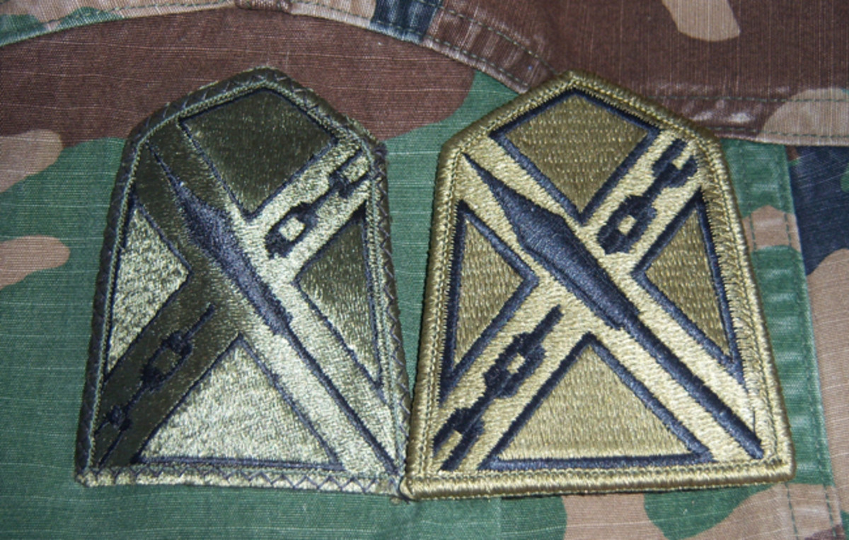 The more things change, the more they remain the same. The newer OCP version of the Virginia National Guard JFHQ patch is shown (on the right) for comparison to a BDU sample from the period when the same patch represented the Virginia State Area Readiness Command (STARC).