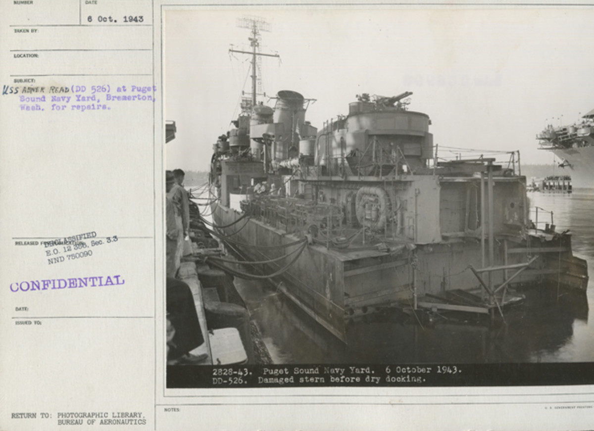 USS Abner Read undergoing repairs to the damaged stern on October 6, 1943, in the Puget Sound Navy Yard.