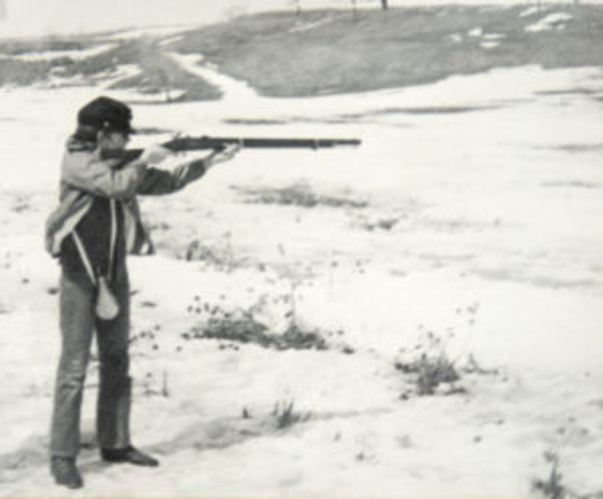 "That's me at age 12 shooting my ""Zouave"" rifle for the first time. I could hardly keep the 9-pound rifle shouldered for more than a few seconds"