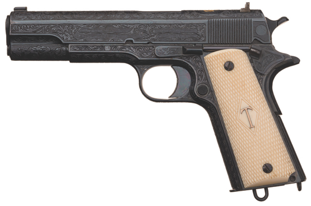 Iconic Presentation Special Factory Order William Gough Master Exhibition Engraved and Gold Inlaid Colt Government Model Semi-Automatic Pistol Single Digit Serial Number C5 Presented by Colt Agent Albert Foster, Jr. to His Attorney, James Bowen
