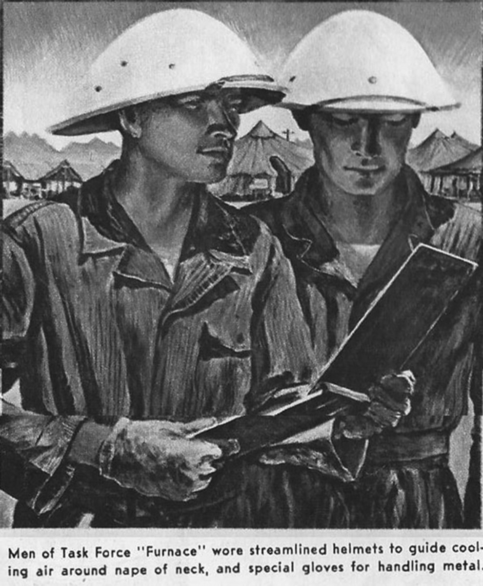 A close up of the illustration showing the experimental helmets in use.