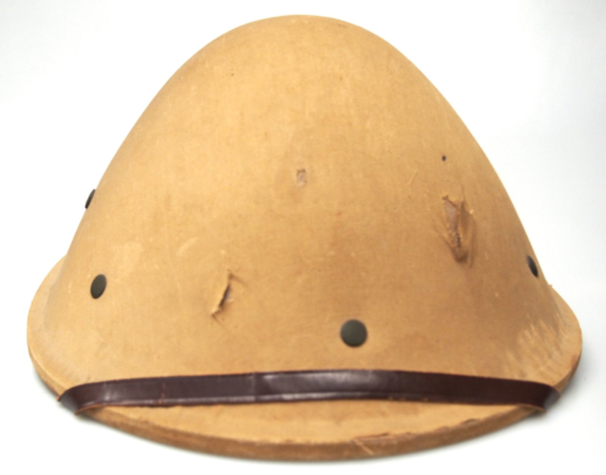 "Front view of the ""forgotten"" American experimental helmet. (Author's Collection)."