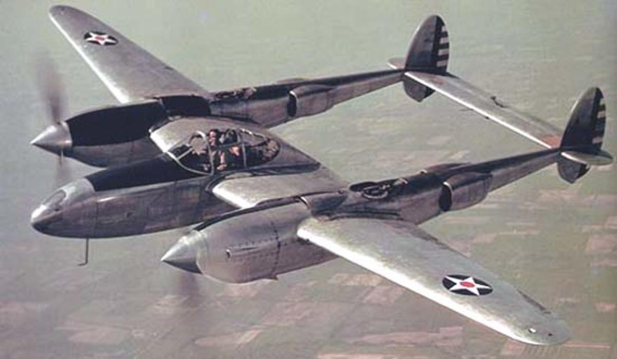 A Lockheed P38 Lightning aircraft.