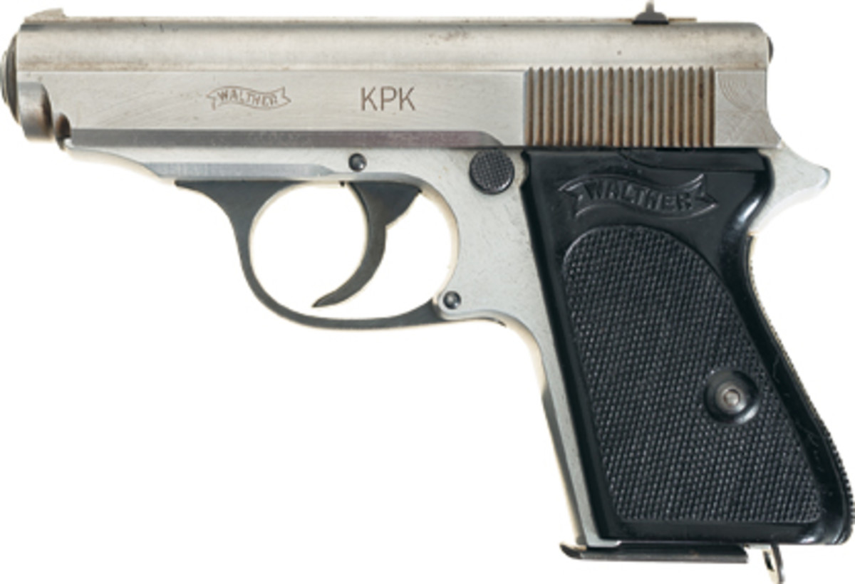 """Lot 1343: A likely """"one-of-a-kind"""" prototype Walther Model KPK pistol found a new home for $54,625."""