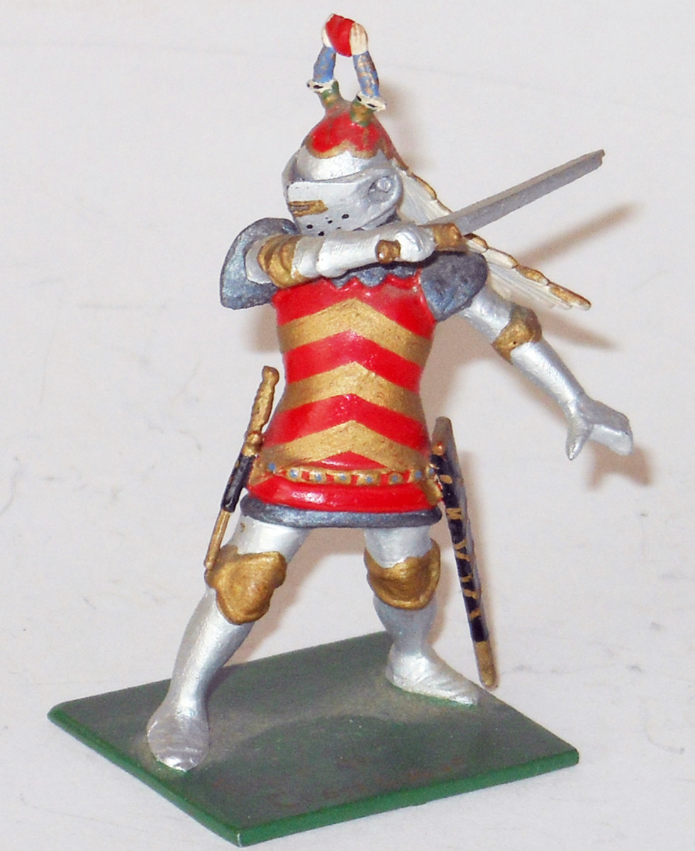 Medieval knight Sieur de Crevecoeur, signed by the artist/creator Richard Courtenay, $1,560. Old Toy Soldier Auctions image.