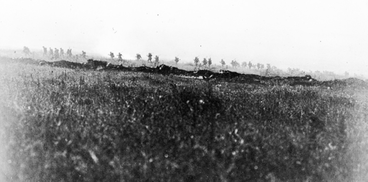 At 07.30 along the 18-mile (25km) Somme British Front Line the soldiers went over the top. They had been told to walk, and that there was no need for haste and, at La Boiselle, men of the Tyneside Irish are pictured with rifles slung on shoulders as they proceed across No Man's Land.
