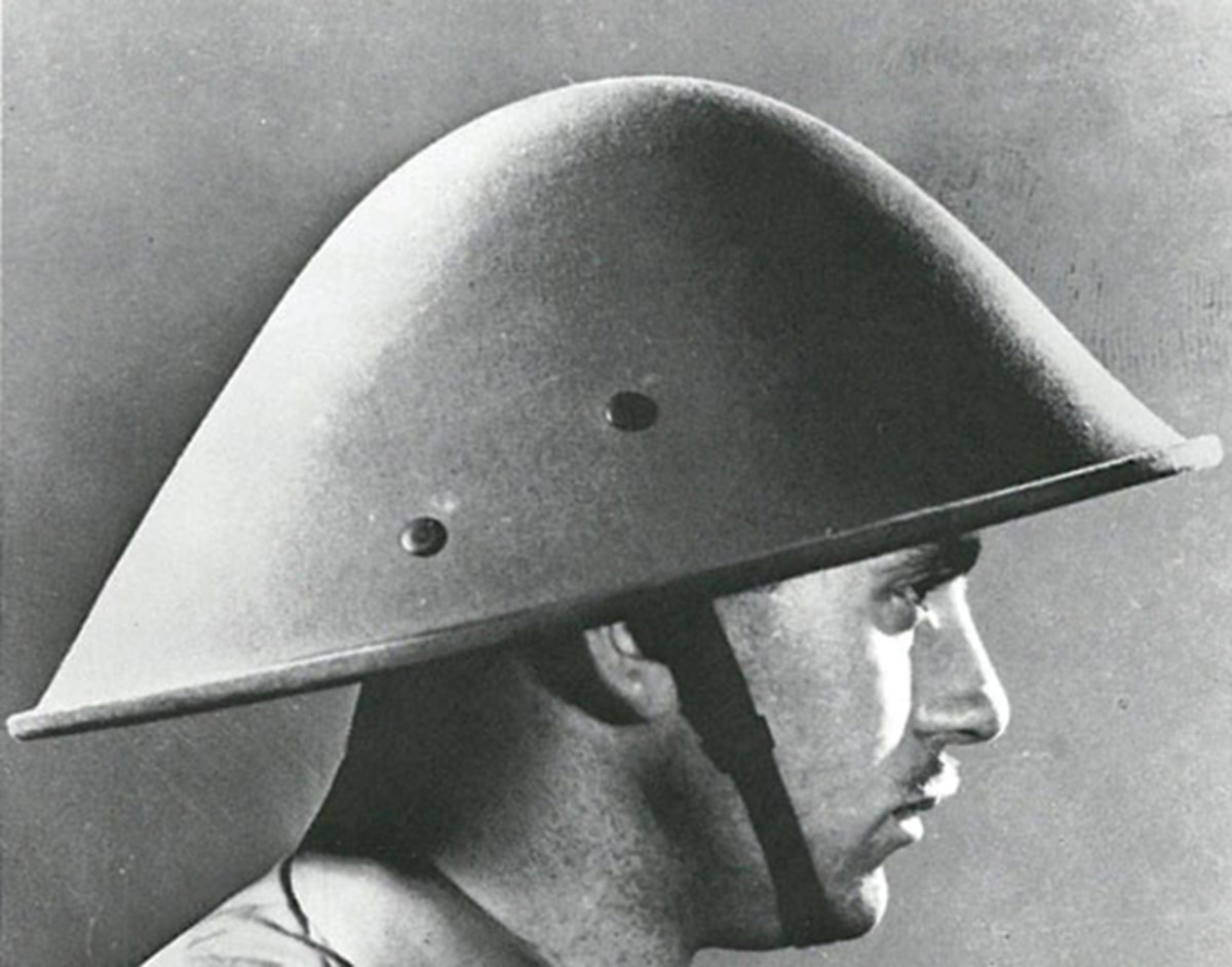 It is unclear how many of these helmets may have been produced for the military. This undated photo from the late 1940s was taken by a U.S. Army photographer.