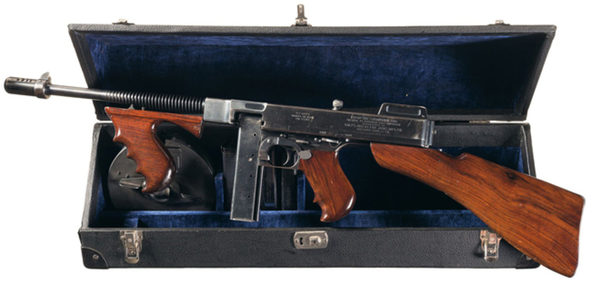 Class III/NFA C&R Full Automatic Colt, Model 1921/1928 US Navy Over Stamp Thompson Submachine Gun with a 50 Round Drum Magazine, Stick Magazines and Case