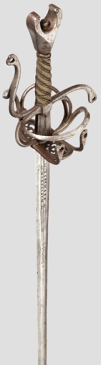 An antenna-hilted sword Munich dated 1585.
