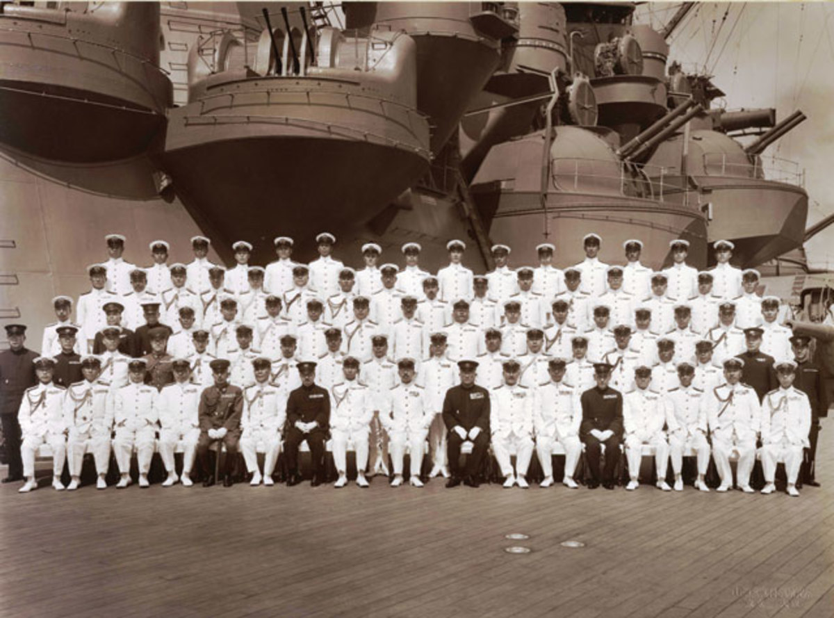 Emperor Hirohito and his staff on board Musashi, 24 June 1943.