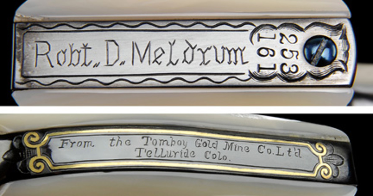 "The Meldrum gun was inscribed on the backstrap and butt ""From the Tomboy Gold Mine Co. Lt'd Telluride Colo."" and ""Robert D. Meldrum""."
