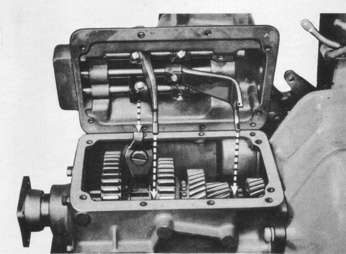 "Five-speed manual transmission as used in most CCKW and DUKW vehicles, showing how to align the shifter forks when installing the cover. The same procedure applies to installing covers on most ""top-loader"" manual transmissions."