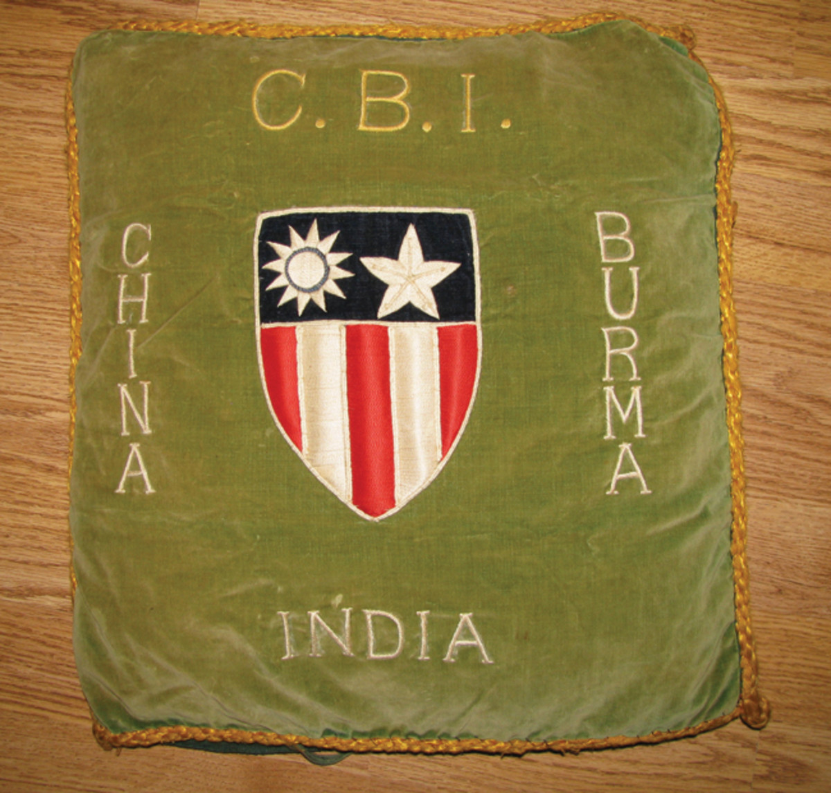 Some of the more elaborate pieces came from the China, Burma, India (CBI) theater, such as this heavily embroidered pillow case with the theatre shield.