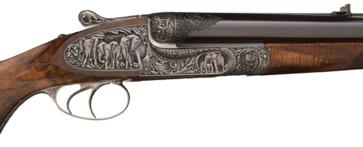 "Rare Collectors Firearms Auctions ""> Phillippe Grifnee Signed Master Deep Relief Elephant Game Scene Engraved 700 Nitro Express Holland & Holland Side Lock Ejector Side by Side Hammerless Double Barrel Dangerous Game Rifle"