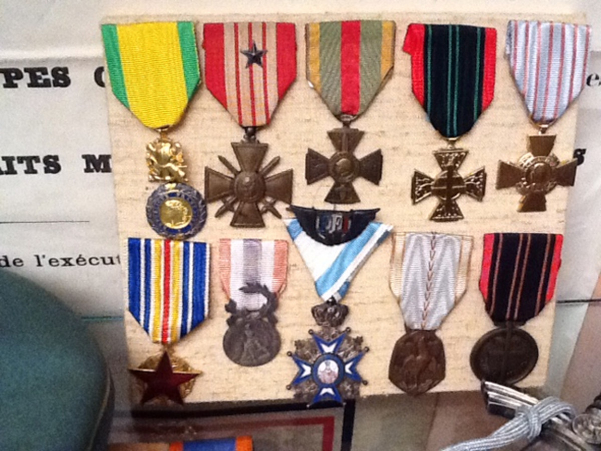 As is the case with many collectors, Jean-Pierre's family had a great influence on his developing interest in military history. These are the medals his grandfather earned during World War II, fighting as a resistance member and who was wounded during the battle for Paris.
