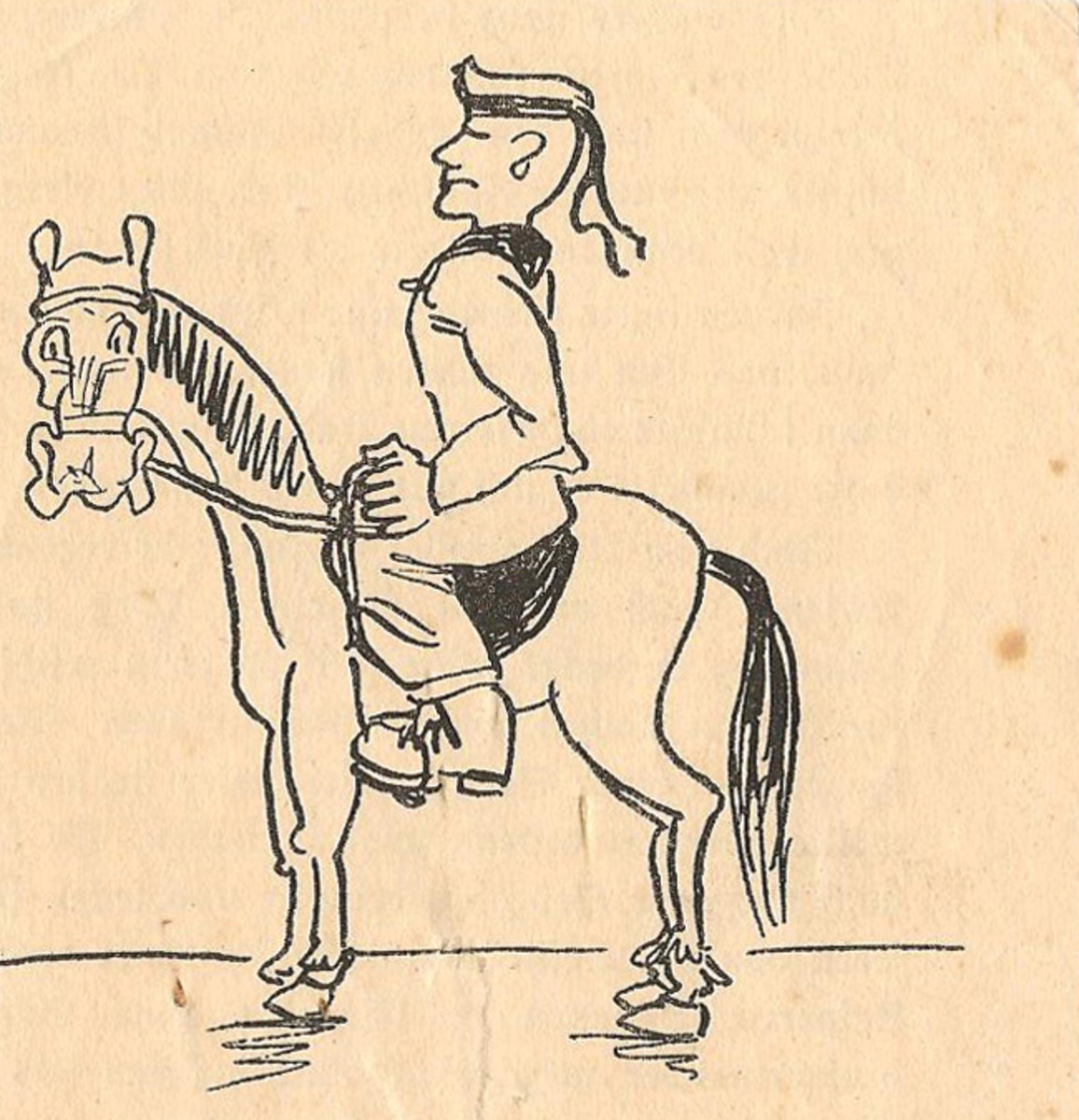 The cover of the 18-page award document for a third class German Horseman's Badge awarded to navy officer, Korvette Kaptain Karl Grade in 1943. The sailor on horse cartoon was inserted into the booklet.