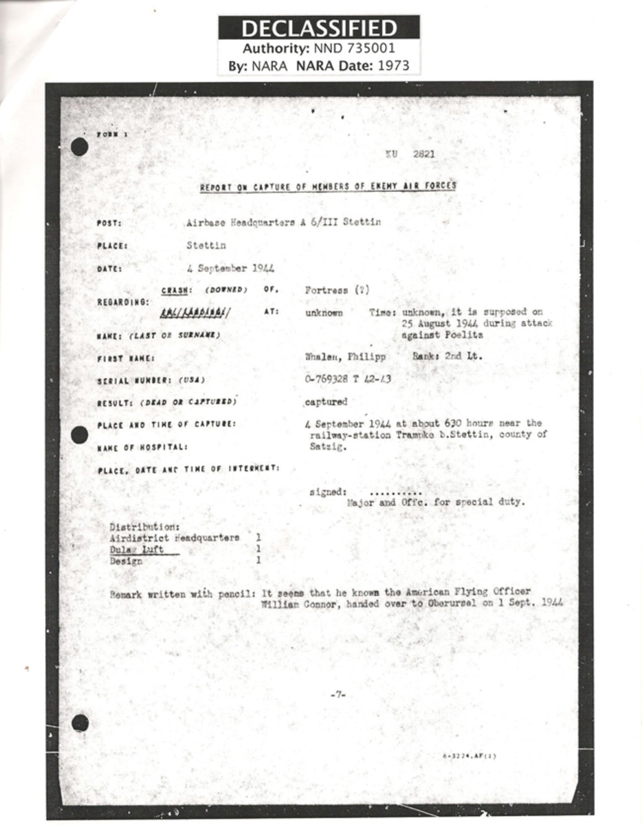 Translated German document listing information detailing Lt. Phillip Whalen as a prisoner of war.