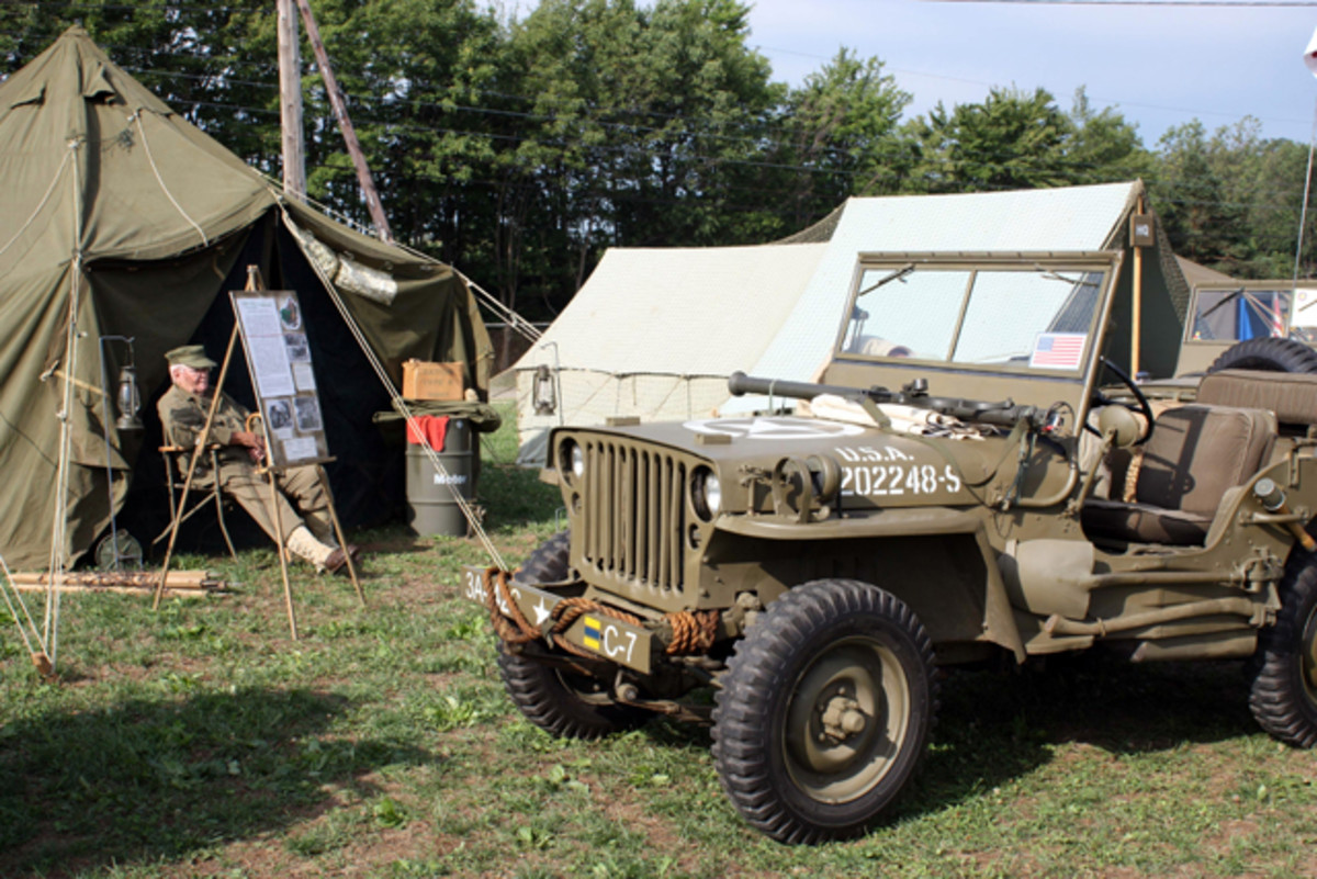 Members of the First Frontier Mechanized Calvary created a World War II encampment featuring more than 20 original jeeps from the 1940s.